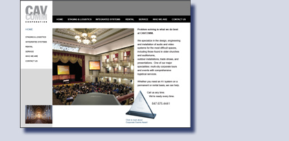 CAVCOMM website created by Kreski Marketing Consultants